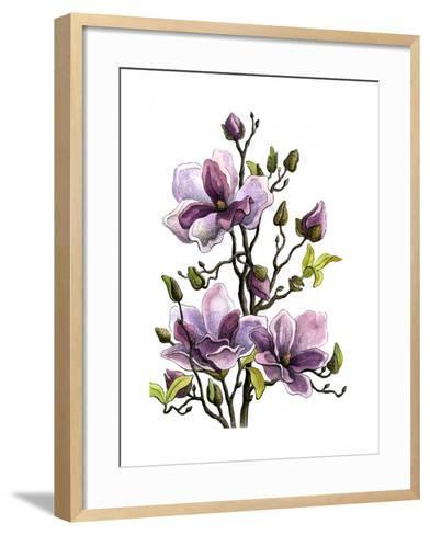 Drawing Branch of a Blossoming Magnolia . Paper, Water Color, H-vodolej-Framed Art Print