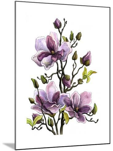 Drawing Branch of a Blossoming Magnolia . Paper, Water Color, H-vodolej-Mounted Art Print