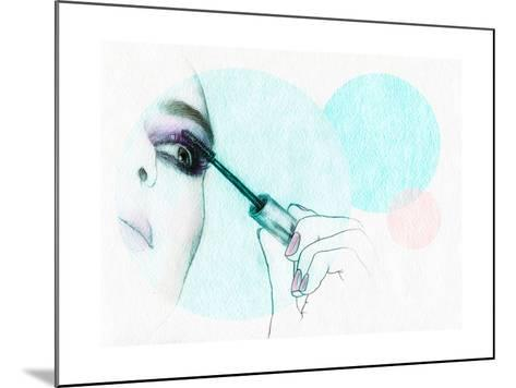 Beautiful Woman Face . Watercolor Illustration-Anna Ismagilova-Mounted Art Print