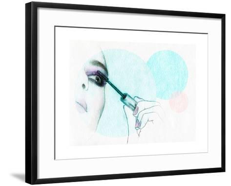 Beautiful Woman Face . Watercolor Illustration-Anna Ismagilova-Framed Art Print