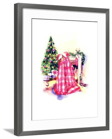 Kissing Couple Man and Woman .New Year Background-Anna Ismagilova-Framed Art Print
