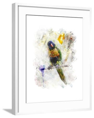 Watercolor Image of Parrot (Rainbow Lorikeet)-SunnyS-Framed Art Print