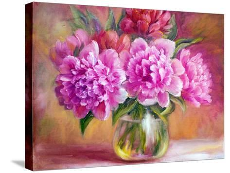 Peonies in Vase, Oil Painting on Canvas-Valenty-Stretched Canvas Print