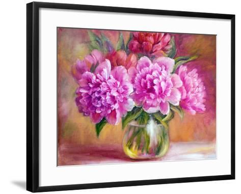 Peonies in Vase, Oil Painting on Canvas-Valenty-Framed Art Print