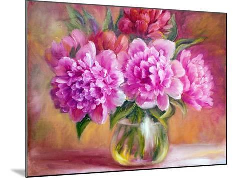 Peonies in Vase, Oil Painting on Canvas-Valenty-Mounted Art Print
