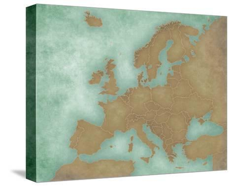 Map of Europe - Blank Map (Dark)-Tindo-Stretched Canvas Print