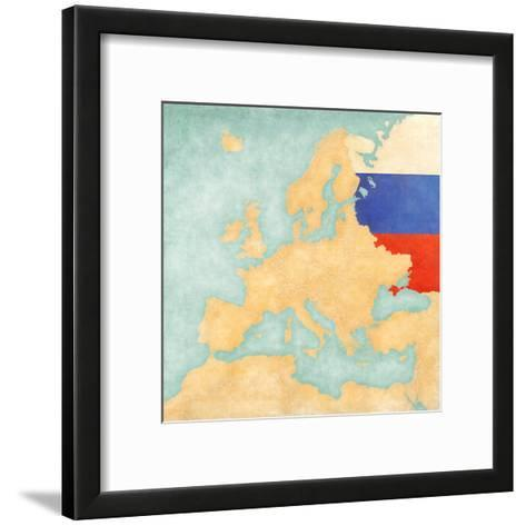 Map of Europe - Russia (Vintage Series)-Tindo-Framed Art Print