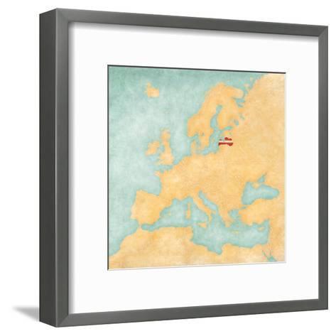 Map of Europe - Latvia (Vintage Series)-Tindo-Framed Art Print