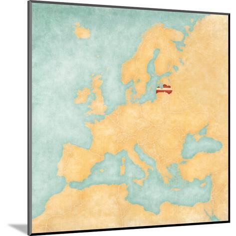 Map of Europe - Latvia (Vintage Series)-Tindo-Mounted Art Print