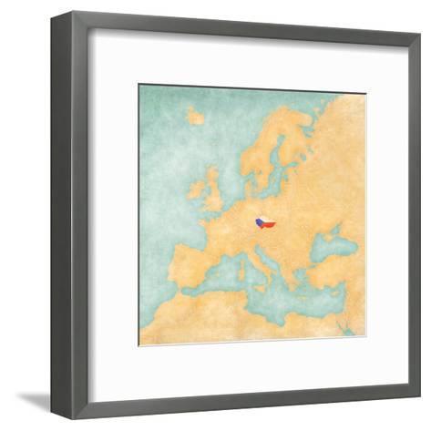 Map of Europe - Czech Republic (Vintage Series)-Tindo-Framed Art Print
