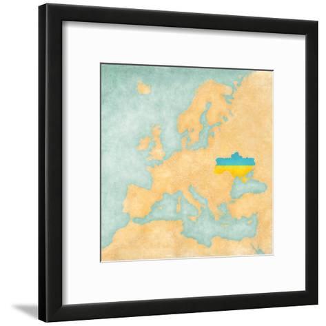 Map of Europe - Ukraine (Vintage Series)-Tindo-Framed Art Print