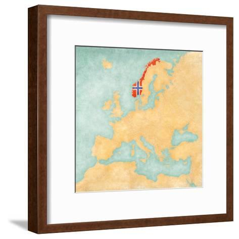 Map of Europe - Norway (Vintage Series)-Tindo-Framed Art Print