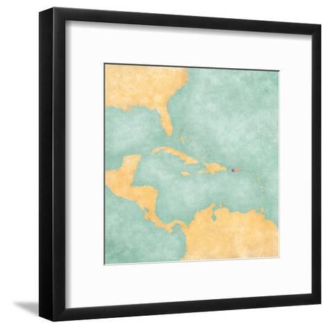 Map of Caribbean - Puerto Rico (Vintage Series)-Tindo-Framed Art Print
