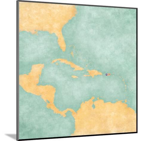 Map of Caribbean - Puerto Rico (Vintage Series)-Tindo-Mounted Art Print