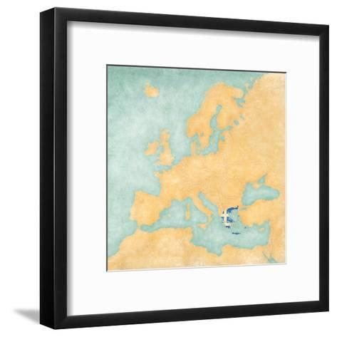 Map of Europe - Greece (Vintage Series)-Tindo-Framed Art Print
