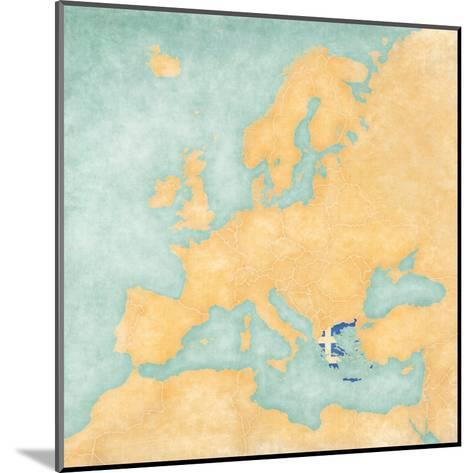 Map of Europe - Greece (Vintage Series)-Tindo-Mounted Art Print