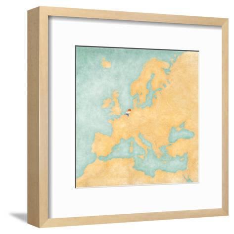 Map of Europe - Netherlands (Vintage Series)-Tindo-Framed Art Print