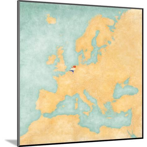 Map of Europe - Netherlands (Vintage Series)-Tindo-Mounted Art Print