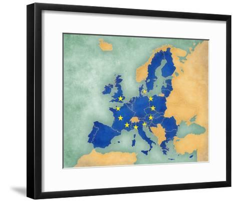 Map of Europe - European Union (Summer Style)-Tindo-Framed Art Print