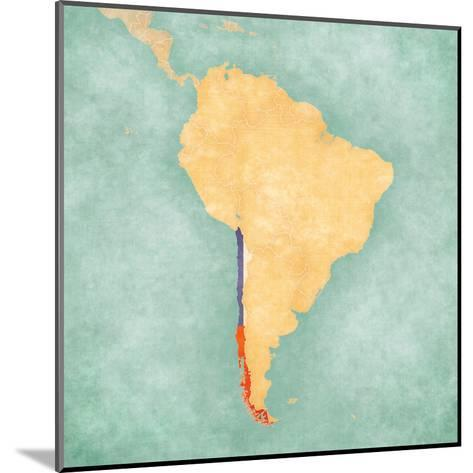 Map of South America - Chile (Vintage Series)-Tindo-Mounted Art Print