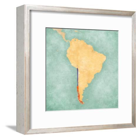 Map of South America - Chile (Vintage Series)-Tindo-Framed Art Print