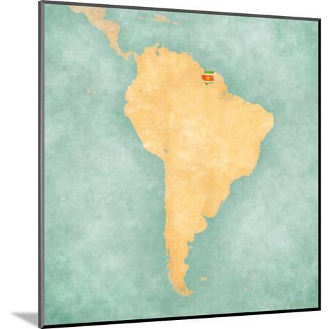 Map of South America - Suriname (Vintage Series)-Tindo-Mounted Art Print