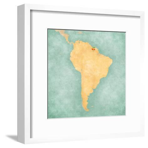 Map of South America - Suriname (Vintage Series)-Tindo-Framed Art Print