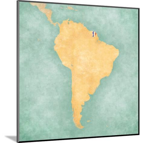 Map of South America - French Guiana (Vintage Series)-Tindo-Mounted Art Print