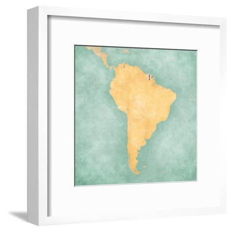Map of South America - French Guiana (Vintage Series)-Tindo-Framed Art Print