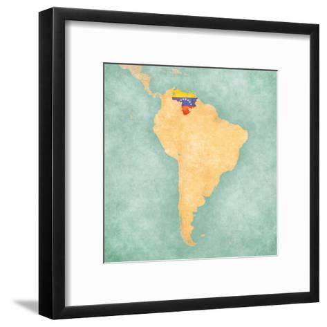 Map of South America - Venezuela (Vintage Series)-Tindo-Framed Art Print