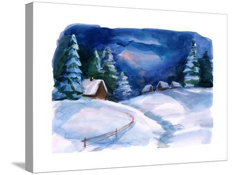 Winter Village-okalinichenko-Stretched Canvas Print