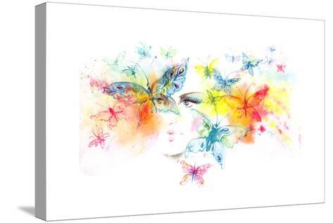 Girl and Butterflies-okalinichenko-Stretched Canvas Print