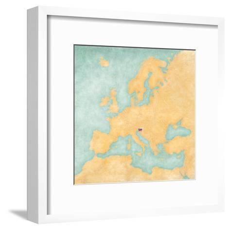 Map of Europe - Slovenia (Vintage Series)-Tindo-Framed Art Print