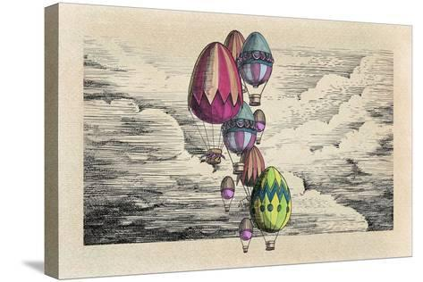 Vintage Eggs Balloons for Easter-tannene-Stretched Canvas Print