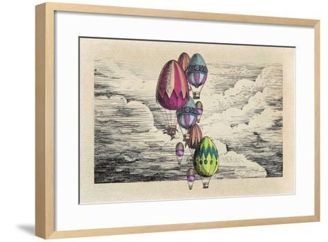 Vintage Eggs Balloons for Easter-tannene-Framed Art Print