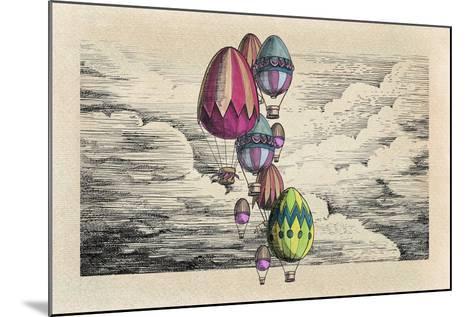 Vintage Eggs Balloons for Easter-tannene-Mounted Art Print