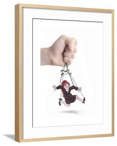 The Woman Pupett-tannene-Framed Art Print