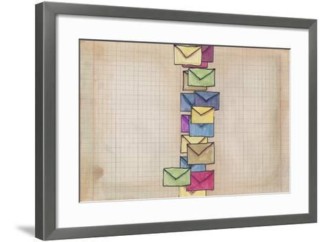 Letters in the Vintage Page-tannene-Framed Art Print