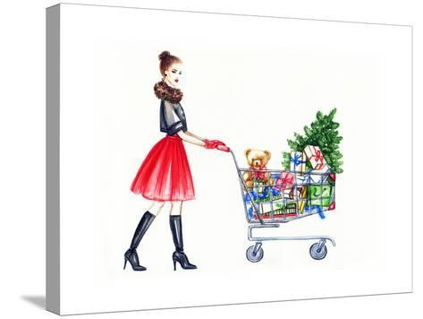 Watercolor Illustration of Lady with Shopping Cart-Anna Ismagilova-Stretched Canvas Print