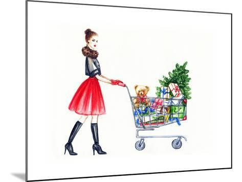 Watercolor Illustration of Lady with Shopping Cart-Anna Ismagilova-Mounted Art Print