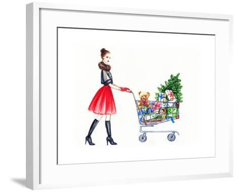 Watercolor Illustration of Lady with Shopping Cart-Anna Ismagilova-Framed Art Print