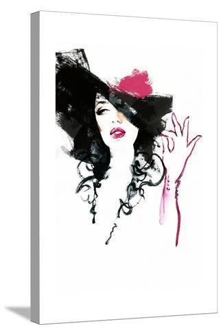 Beautiful Woman in Hat . Watercolor Illustration-Anna Ismagilova-Stretched Canvas Print