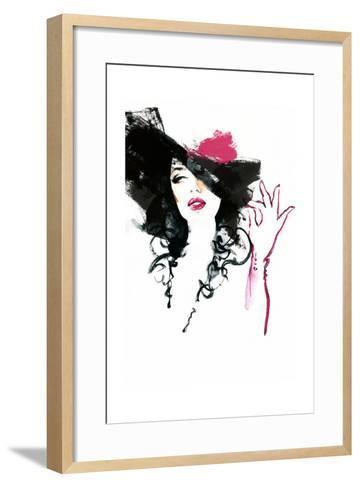 Beautiful Woman in Hat . Watercolor Illustration-Anna Ismagilova-Framed Art Print