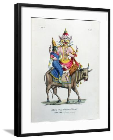Shiva, One of the Gods of the Hindu Trinity (Trimurt) with His Consort Parvati, C19th Century-A Geringer-Framed Art Print