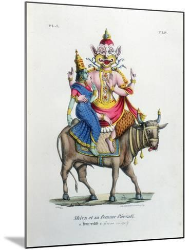 Shiva, One of the Gods of the Hindu Trinity (Trimurt) with His Consort Parvati, C19th Century-A Geringer-Mounted Giclee Print
