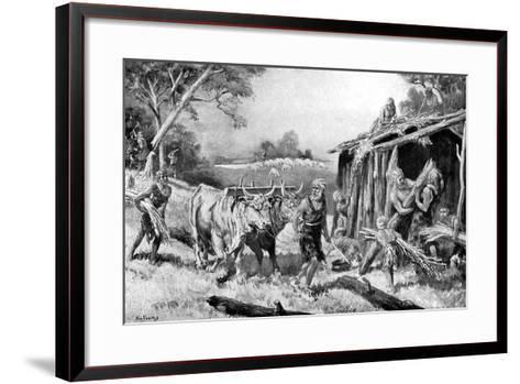 Building a Tribal Homestead-A Holloway-Framed Art Print