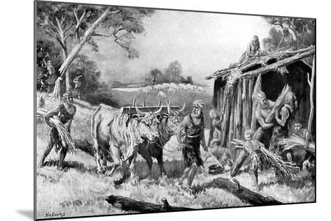 Building a Tribal Homestead-A Holloway-Mounted Giclee Print