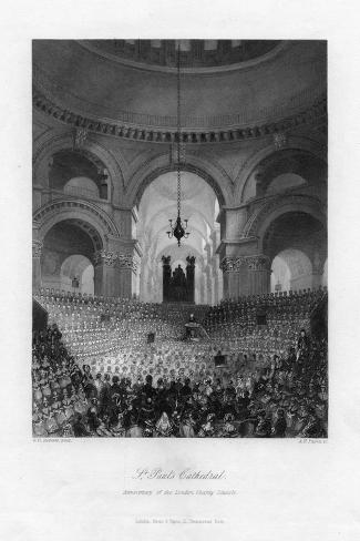 Anniversary of the London Charity Schools, St Paul's Cathedral, London, 19th Century-AH Payne-Stretched Canvas Print