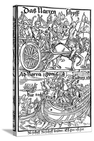Title Page of an Edition of Ship of Fools, by Sebastian Brant, 1494-Albrecht Durer-Stretched Canvas Print