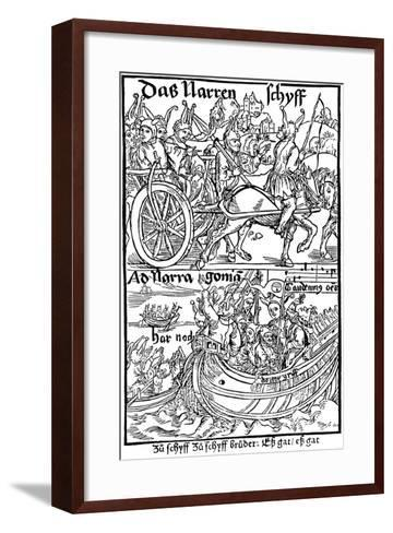 Title Page of an Edition of Ship of Fools, by Sebastian Brant, 1494-Albrecht Durer-Framed Art Print